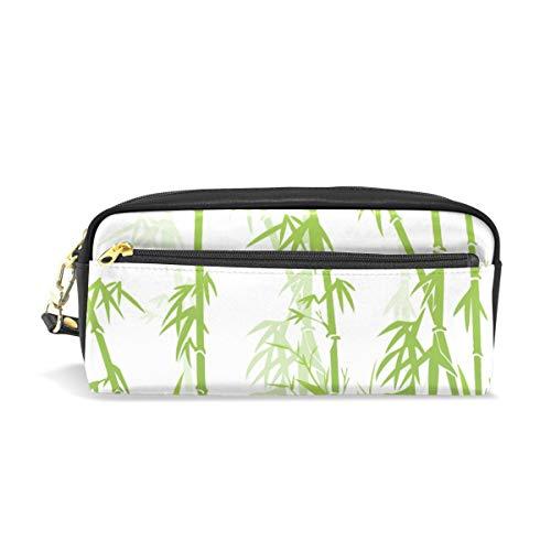 Kosmetische Schminktasche Grüne Bambus Zen Muster Brille Fall für Student Boy Girl Bleistift Fall Tasse Reißverschluss Tasche Geldbörse Stift Stationäre Tasche