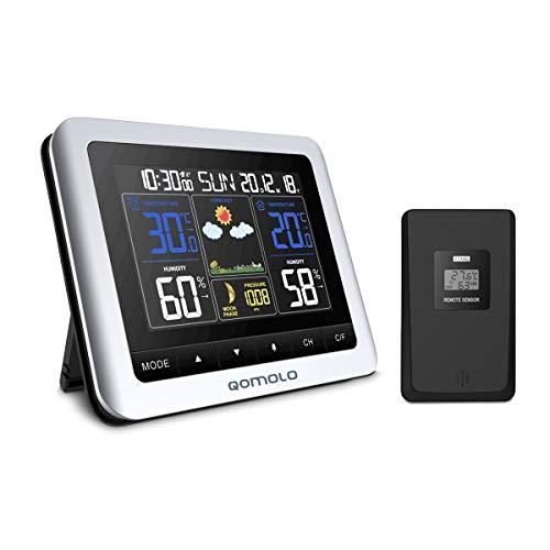 Qomolo Wetterstationen Funk mit Außensensor Thermometer Hygrometer Digital für Innen und Außen Farbdisplay mit Umfassendem Blickwinkel Uhrzeit Wettervorhersage Temperatur Feuchtigkeit Anzeige