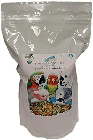 TOP's Parrot Food Marlene Mc'Cohen's USDA Certified Organic Signature Blend Bird Seed and Pellet Mix for Large Birds 2.5lbs