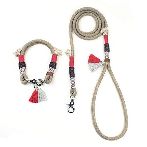 BELLA SET mit Hundeleine & Halsband aus Tauwerk von GOLDEN PAW (mit Braun Vintage Leder, Scherenkarabiner)