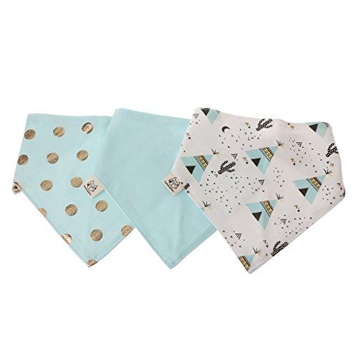 A0127 - Juego de 3 bandanas de algodón para bebé, diseño de babero 12 Talla:1#