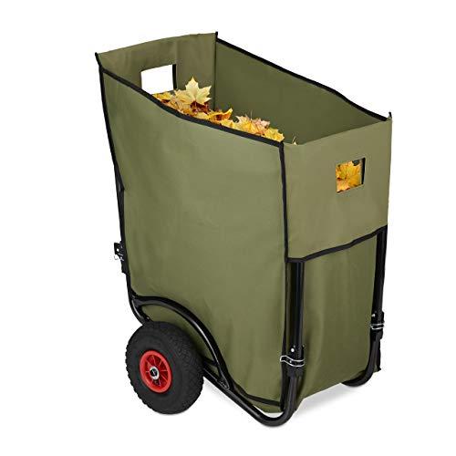 Relaxdays bladwagen, grote tuintralley, inklapbare bladwagen voor de tuin, 2 luchtbanden, bladzak 160 liter, groen