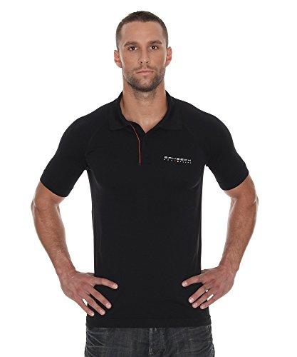 BRUBECK Polo Shirts for Men   Poloshirt schwarz Herren   Polo Funktionshemd   Funktions Polohemd atmungsaktiv nahtlos   Kurzarmshirt   Hemd Kurzarm   Gr. M   Schwarz   Prestige   SS10920