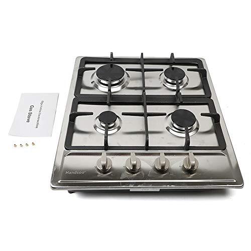Cocina de gas con 4 fuegos, 58 cm x 50 cm, de acero inoxidable, autosuficiente, 2,75 kW