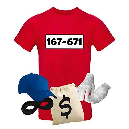 T-Shirt Panzerknacker Kostüm-Set Wunschnummer Cap Maske Karneval Herren XS - 5XL Fasching JGA Party Sitzung, Größe:M, Logo & Set:Standard-Nr./Set Deluxe+ (167-761/Shirt+Cap+Maske+Hands.+Beutel)