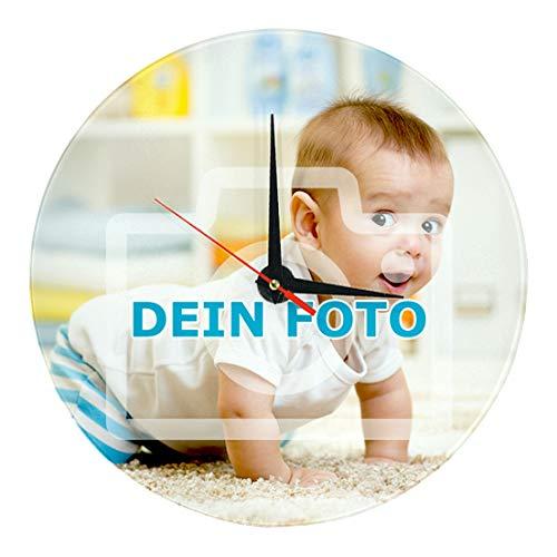 Wanduhr mit eigenem Foto gestalten (Uhr mit individuellem Bild Bedruckt, per Thermo-Sublimationsdruck, inkl. Uhrwerk, aus echtem Glas, ideal als Fotogeschenk)