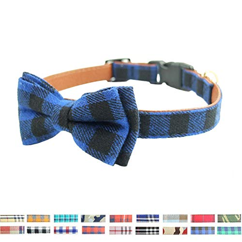 18 Colors Dog Collar Bow Tie Cotton Leather Plaid Camouflage Collars for Small Large Dogs Cat Puppies French Bulldog Pug 25-58cm-5-33-46cm