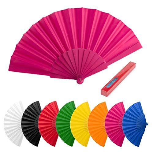 Lote de 100 Abanicos de Plástico y Tela de Colores Variados -...