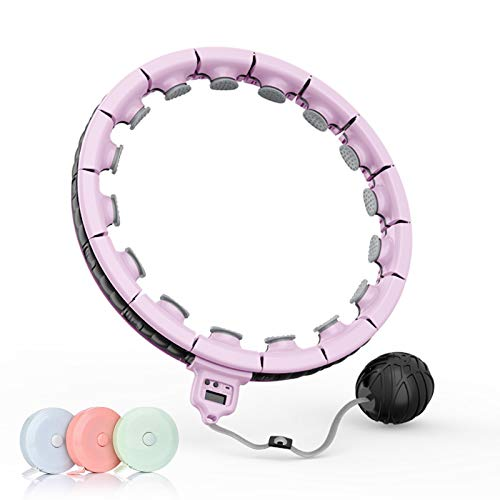 LULUPEACH Smart Weighted Fitness Hoops for Adults Weight Loss, 3ld/5ld Detachable Abdominal Core Exercise Massage Hoops Suitable for Men and Women Waist Size 24/32/40/50/Larger