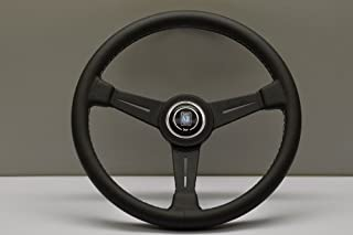 NARDI Steering Wheel - Classic - 360mm (14.17 inches) - Black Leather with Grey Stitching - Black Anodized Spokes - Part # 6061.36.2001
