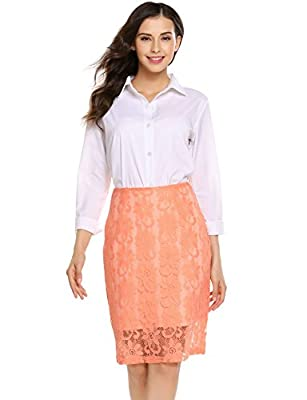 Women High Waist Floral Lace Knee Length OL Pencil Skirt