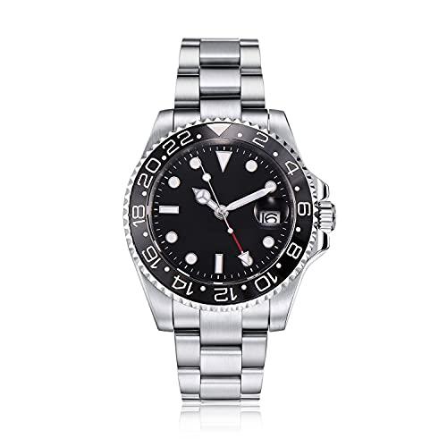 PARNIS by Collectors Club TW1001 GMT Automatikuhr 316L-Edelstahl Armbanduhr mit zweiter Zeitzone GMT Saphirglas 5BAR Wasserdicht