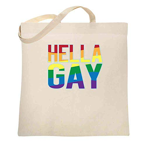 Hella Gay Rainbow Flag Pride LGBTQ Natural 15x15 inches Large Canvas Tote Bag Women