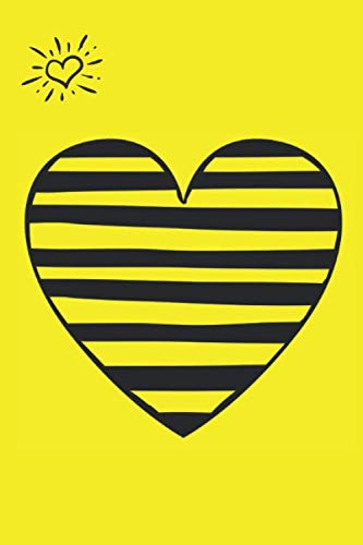 PERIOD TRACKER: Yellow Striped Heart- Discrete Design, 5 Year monthly calendar log book with tips and tricks to help with PMS sy