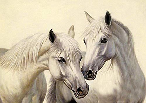 XLUIN Muurstickers & muurschilderingen 5D Diamant Schilderij Cross Stitch Diy Suit, Paard Aan Succes Twee Paard Behang Strass Schilderij Kunst Ambacht Thuis Wallpaper,@Wit Paard_50*60Cm