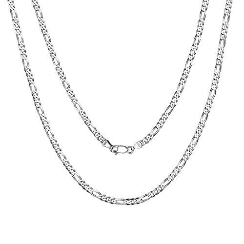 Chaîne Argent Homme 65 cm - Chaine Maille Figaro Rhodié 3 mm - Bijoux Collier en Argent 925 Italien - Chaine Argent pour Pendentif