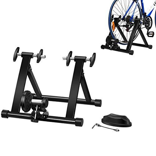 COSTWAY Rollentrainer mit Vorderradstütze, Fahrrad Heimtrainer klappbar, Cycletrainer bis 100KG belastbar, Fahrradtrainer 26-28 Zoll Fahrrad, schwarz