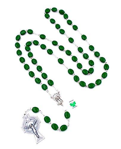 Irish Celtic Rosary with Shamrock Beads