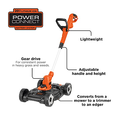 BLACK+DECKER 3-in-1 String Trimmer/Edger & Lawn Mower, 6.5-Amp, 12-Inch, Corded (MTE912) (Power cord not included)