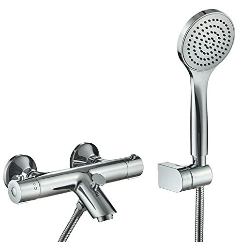 SERTNA Thermostat Badewannenarmatur inkl. Handbrause und Halter, Wasserhahn für die Badewanne mit Verbrühschutz, Wannenthermostat Badarmatur mit Mischbatterie