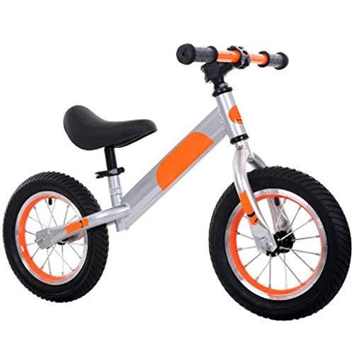 Triciclo Trike Trike Trike Trike Bicicleta de equilibrio para niños, sin pedales, luz deportiva de dos ruedas, marco de acero al carbono ajustable para manillar, naranja, 12 triciclos para 1-3 años