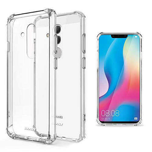 Moozy Funda Silicona Antigolpes para Huawei Mate 20 Lite - Transparente Crystal Clear TPU Case Cover Flexible