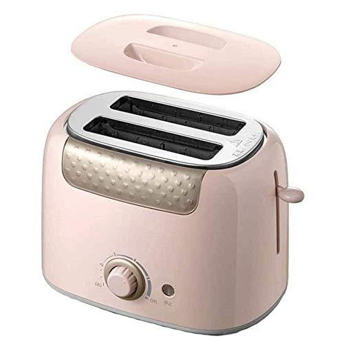ZSJ Tostador de Pan tostadora 600W con 6 Nivel de Control de Tostado, Cubierta de Polvo, Cancelar función, de Alta elevación y la Bandeja for Migas Desmontable Ranuras Ancha (Color : Pink)