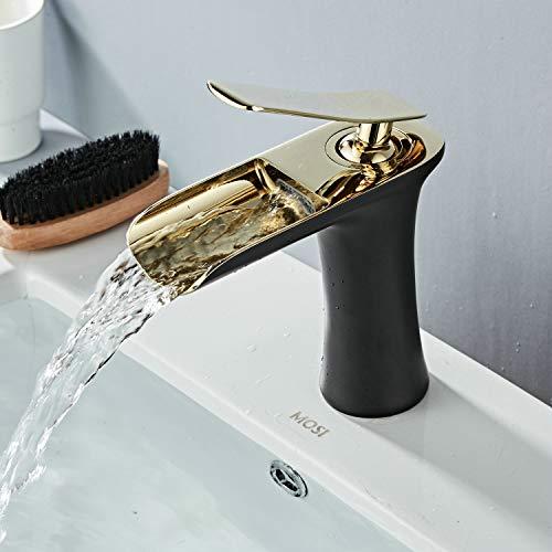 Waschbecken Wasserhahn Wasserfall Einhebelmischer Messing Schwarz/Gold Chrom Montieren Toilette Luxus Heißen und Kalten Leekayer,LK90097BGg