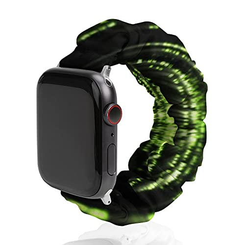 NiYoung Women Men Sparkling Black and Green Neon Lights Compatible with Elastic Apple Watch Bands 38mm 40mm Adjustable Sport Bands for iWatch