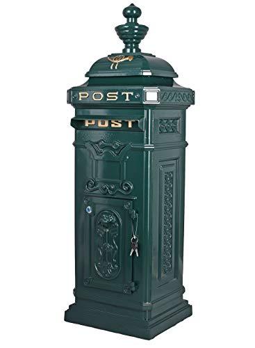 Historischer Standbriefkasten, Briefkasten, Briefbehälter, Eisenbriefkasten, Kasten im Stil der Gründerzeit aus Gusseisen in Grün - LTA303 Palazzo Exclusiv