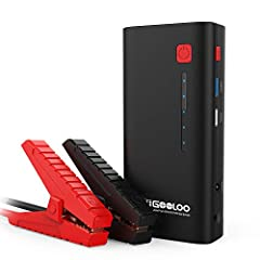POWERFUL LIFE SAVER: This GOOLOO emergency jump starter has enough power (1200A peak current) to jump start most 12 volt vehicles on the road! (up to 7.0L gas or 5.5L diesel engines) Works with cars, motorcycles, watercrafts, ATVs, UTVs, SUVs, lawn m...