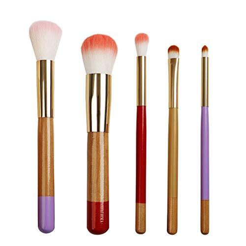 GH-YS Kit De Pinceaux De Maquillage, 5 Pinceaux De Fard À Paupières Eyeliner pour Pinceaux À Paupières en Fibre De Bois avec Manche en Bois, Outil De Maquillage