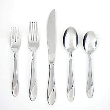 89-Piece Cambridge Silversmiths Swirl Sand Flatware Set