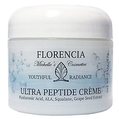 Florencia Ultra Peptide Cream, Anti Aging Moisturizer (2 oz); Matrixyl 3000, Hyaluronic Acid, Vitamin C, E, A, Alfa Lipoic Acid; Wrinkle Cream Boosts Collagen, Firms, Deeply Hydrates; Fragrance Free