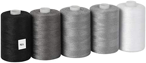 MOOACE Cotton Thread Sets for Sewing Machine 1000 Yard Spools Black Grey White product image
