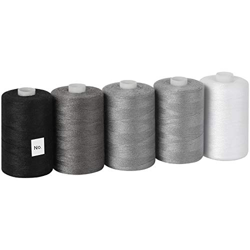 MOOACE Cotton Thread Sets for Sewing Machine - 1000 Yard Spools Black, Grey, White
