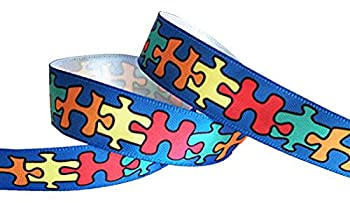 Q-YO Sparkle/Satin/Grosgrain/Autism Ribbon for Dance Floral Designs Gift Wrapping Sewing..  Autism Satin Awareness Puzzle Ribbon--5/8  5yd