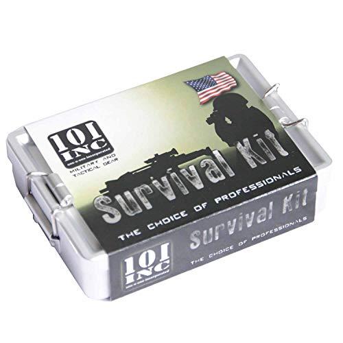 101 INC. Survivalbox aus Alu mit Notfallausrüstung Überlebensausrüstung Überleben Box Notfall Hilfe Wildnis SOS