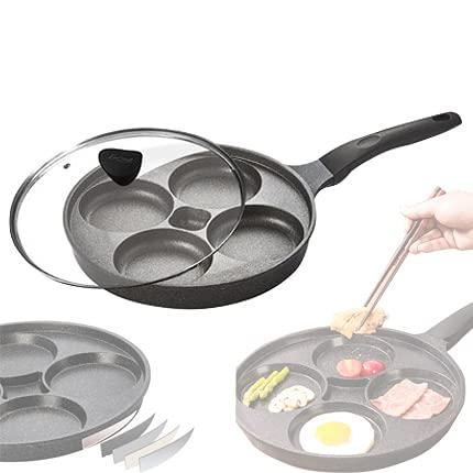 Sartén para Huevos, Sartén para Tortillas de Cuatro Agujeros, Utensilios de Cocina Antiadherentes con Cubierta, Olla para Freír Huevos de Aluminio para Hamburguesas de Huevos