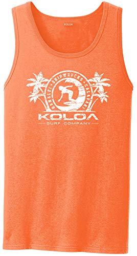 Joe's USA Koloa Surf(tm) Surfer Girl Logo - Mens Tank Top-Neonorange/w-M