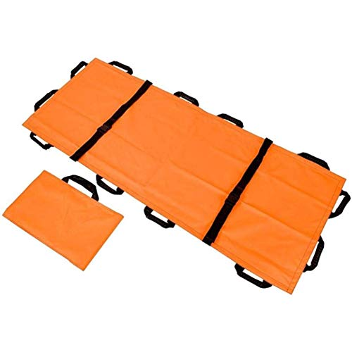 Ritlr- Faltbare Wasserdicht Notfall Weiche Bahre mit 12 Griffen und Aufbewahrungstasche, Rettung Zurück Stretcher Litter Patient Transfer System Tragbares Transporteinheit (Color : Orange)