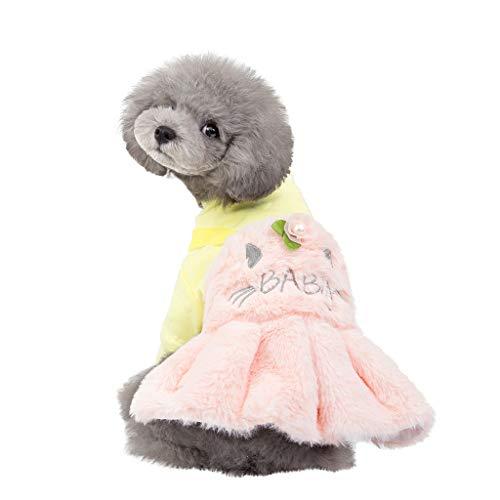 Winter Haustier Hund und Kapuze aus Fleece Tutu Kleid Pullover Shirt, Winter warme Hundepullover Sweatshirt Daunenjacke Haustierkleidung (XL, Rosa)