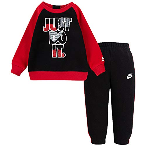 Nike Trainingsanzug 66G985-023 JDI Fleece Crew Set, Schwarz 24 Monate