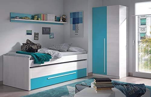 K jugendlich Schlafzimmermöbel, unisex Farbe Bettrahmen Bett und Kleiderschrank,White Blue