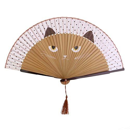 Plegable Abanico de Tela y Bambú Ventilador de La Mano con Dibujo Gato Animados Pintado Kawaii Artesanía de Navidad Regalo Cumplea?os