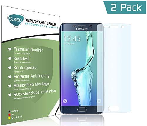 Slabo 2 x Pellicola Protettiva di Schermo Alta Protezione per Samsung Galaxy S6 Edge Shockproof Antirottura (pellicole rimpicciolite, a Causa della convessità del Display) - Made in Germany