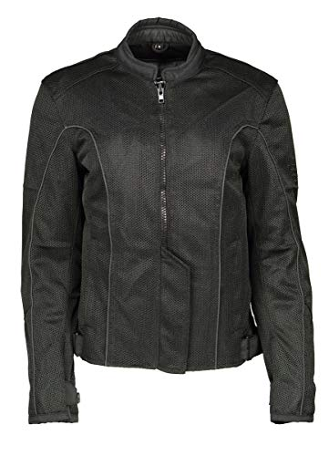 M Boss Motorcycle Apparel BOS22702 Ladies Black Mesh Racer Jacket with Full Armor - Large
