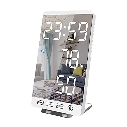 Wygard Estilo 2021 Vertical Digital con Grande Espejo de maquillaje vertical,Reloj Despertador Moderno con de por USB Cargando,con 1 Alarmascon Función de Siesta,Temperatura,Humedad,Uso del dormitorio