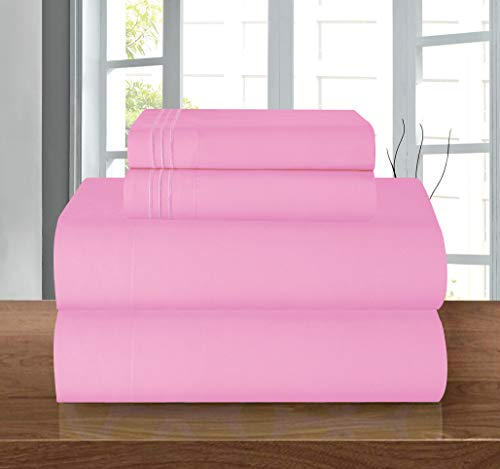 Luxury Soft 1500 Thread Count Egyptian 4-Piece Premium Hotel Quality Wrinkle and Fade Resistant Coziest Bedding Set, Easy All Around Elastic Fitted Sheet, Deep Pocket up to 16inch, Queen, Light Pink