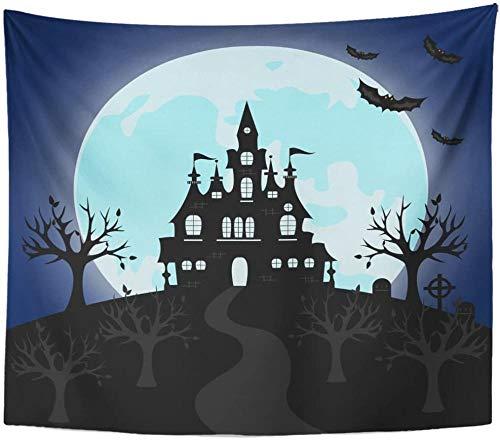 AdoDecor Tapiz Antiguo gótico Cementerio Puerta de Hierro y Linterna tapices de Noche de Halloween para Colgar en la Pared para Sala de Estar Dormitorio Dormitorio 150x200 cm/79 * 59 Pulgadas